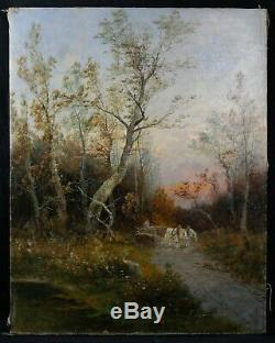 Old Oil On Canvas Signed Waller Transport Of Wood On Horseback And In Forest