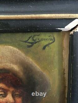 Old Oil Painting On 19th Century Portrait Panel Signed To Identify