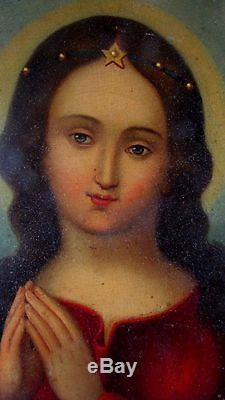 Old Oil Painting On Early Nineteenth Virgin Madonna Salomé