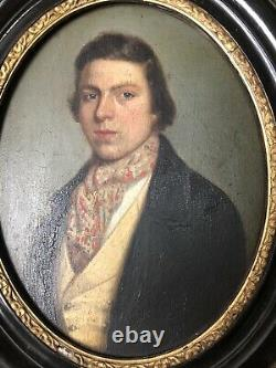 Old Oil/panel Portrait Dandy 19th Old Painting