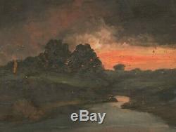 Old Original Oil Painting Landscape, Sunset, River, Tree
