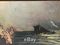 Old Original Vintage Painting Oil Painting Breton The Topeze, Mucha