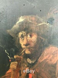 Old Paint On Wood Panel Flemish Late 19th School Kind Teniers