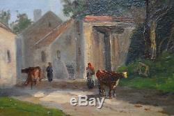 Old Painting By Albert-françois Fleury 1848-1925. The Entrance Of The Village