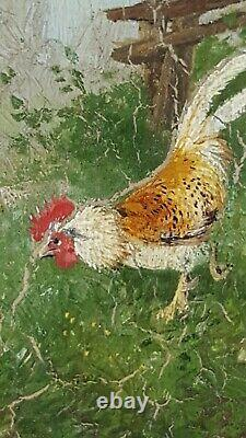 Old Painting Chickens And Coqs Painting Oil Antique Oil Painting Ölgemälde