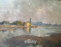 Old Painting Landscape In The Moonlight By Jeanne Ferrez Small Local Master
