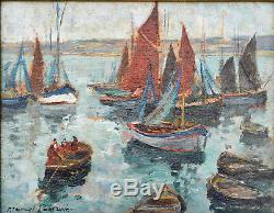Old Painting, Marcel Parturier 1901-1975. Trawler In Brittany