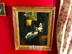 Old Painting Of Queen Marie Antoinette With Its Gilded Frame