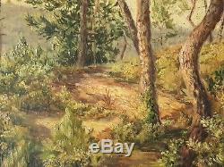 Old Painting Oil On Canvas Undergrowth Cannes J.l Varlet Early Twentieth 1927