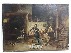 Old Painting, Oil On Panel Early 19th, Scene, To Identify, Painting