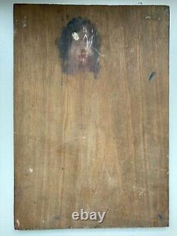Old Painting Oil On Wood Woman Nude Artistic Draped Light Dark 1900's