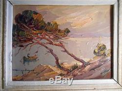 Old Painting Painting Signed Elie Bernadac Bord Mer Nice Cote D 'azur Framed