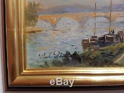 Old Painting Paul Flaubert (1928-1994) Seine In Rouen