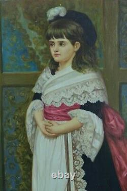 Old Painting Portrait Of Young Girl In Costume Traditional Hairstyle Signed