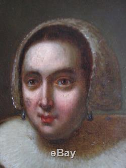 Old Painting Portrait Oil Wood Woman Lady Renaissance Nineteenth Shabby Chic