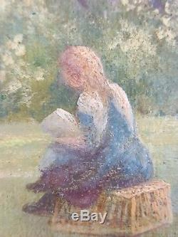 Old Painting The Laundry Oil Painting Antique Oil Painting