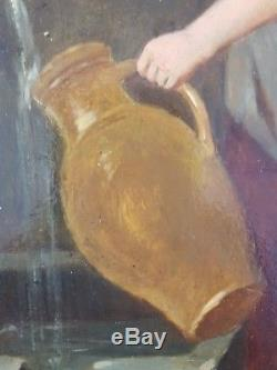 Old Painting Young Woman At The Fountain Painting Oil Antique Oil Painting