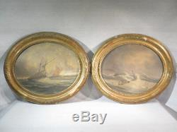 Old Pair Of Tables Sailing Marine Oil On Wood Signs Time Late Nineteenth