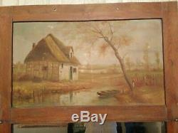 Old Pier / Mirror / Oil On Canvas, Landscape, Thatched House