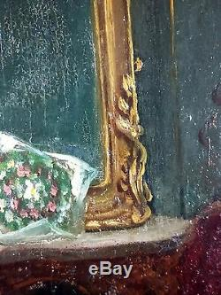 Old Table Adele D'affry (1836-1879) Painting Oil Oil Painting