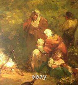 Old Table Att. George Morland Oil Panel Wood Painting 19th English