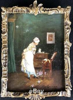 Old Table Nineteenth Hsp Painting Woman With Toilet Painting Signed 19th Dipinto