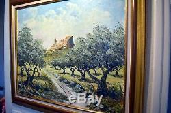 Old Table / Oil On Wood Signed, Provencal Village (provence Montfort)
