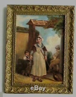 Old Wood Frame Dore Painting Oil On Canvas Peasants Children And Dog