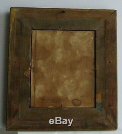 Old Wood Frame Dore Painting Oil On Canvas White And Brown Cow