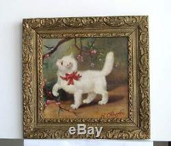 Old Wood Frame Dore Painting Oil On Canvas White Cat And Bird