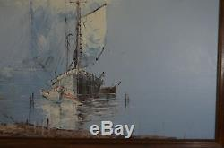 Old Wooden Frame Painting On Canvas Oil Sign Nature Sea Boat Beach Lighthouse