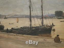 On The Docks Of Bordeaux 1905. Rare Painting By Paul Sain (1853-1908)