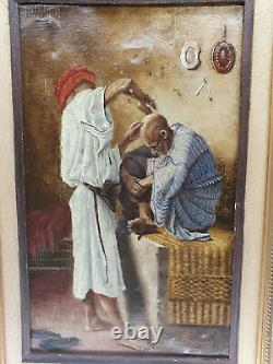 Orientalist Painting By Ribains Oil On Canvas 1887 Wooden Frame 43x31 CM