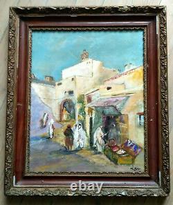 Orientalist Painting Oil On Wooden Panel Signed M. Berton