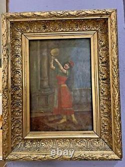 Orientalist Painting On Dance Panel With Tambourine 19th