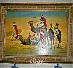 Orientalist Tableau Signed LM Peinture To The Huile On Panneau Early XX Century