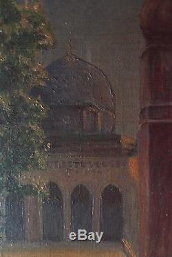 Original Painting Orientalist Oil On Canvas Jerusalem 1900 Ad