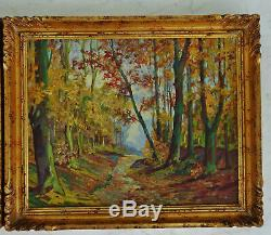 Oscar Thurillot- Pair Of Oils On Panel Spring Landscape And Sous Bois