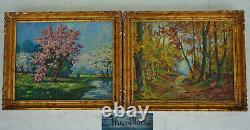 Oscar Thurillot- Pair Of Oils On Printian Landscape Panel And Under Wood