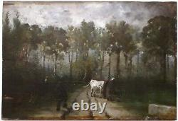 Painting 1860 Scene Peasant Barbizon Oil/wood Near Rousseau Millet