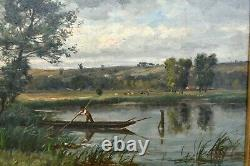 Painting Ancient Landscape Animated Fishermen Impressionist River Signed Ed. Lambert