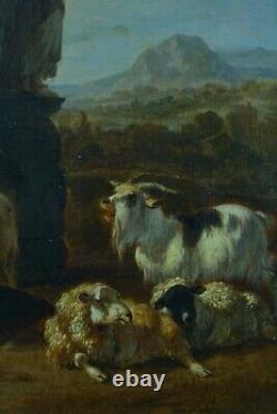 Painting Ancient Scene Pastoral Landscape Bergère Herd Flemish 17th Sv Berchem