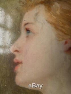 Painting Houssay Josephine (1840-1914) Female Portrait On Panel