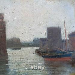 Painting La Rochelle XIX Impressionist Marine Sailier Charente