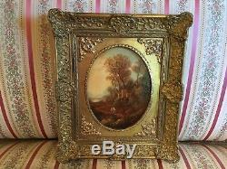 Painting Nineteenth Landscape With His Frame Golden Locket