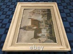 Painting Oil On Panel View On Church Signed Edmond Victor Jamois XIX Eme