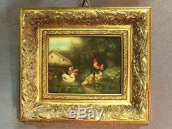 Painting / Oil On Wood Le Poulailler Signed G. Roy