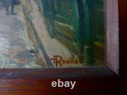 Painting, Oil On Wood, Town Of Morlaix Signed F Rouillet Student Of Léandre No1