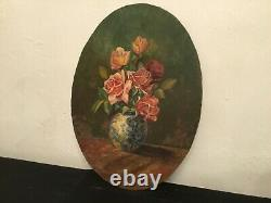 # Painting Oil Painting On Panel / Still Life, Flower Bouquet Signed