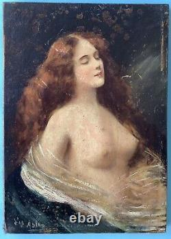 Painting Oil Painting On Wood Portrait Nu Feminine Drapés Signed 19th